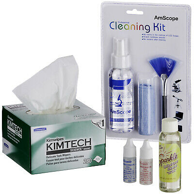 AmScope Microscope Operation Maintenance Cleaning Kit with Immersion Oil