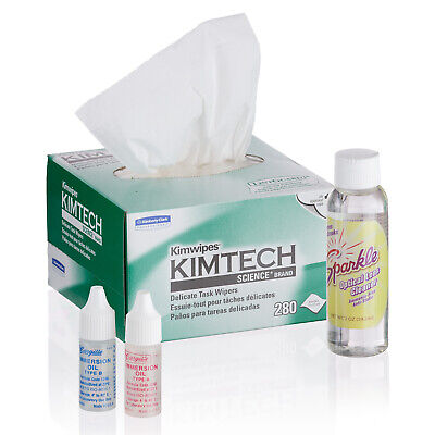 AmScope Microscope Maintenance Kit - Immersion Oil, Wipes & Optical Lens Cleaner