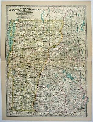 Original 1902 Map of Vermont & New Hampshire by The Century Company