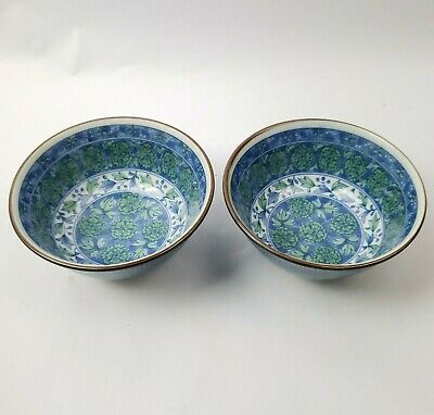 """SET of 2 PCS 6/""""D Japanese Chinese Rice Soup Noodle Bowl Crane Wave Made in Japan"""