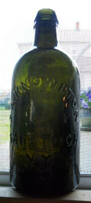 Whittled Perfect Olive Green DA Knowlton Saratoga NY Mineral Spring Water Bottle
