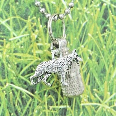 German Shepherd Urn Necklace, Dog Loss Cremation Jewelry, Pet Memorial Keepsake