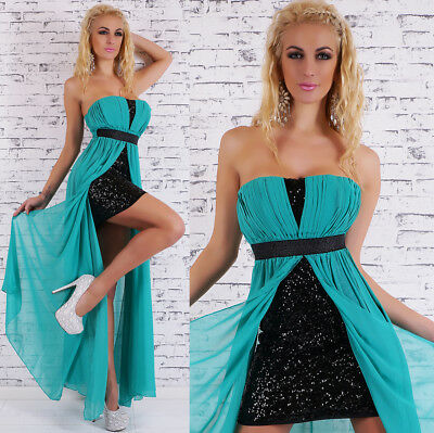 Ladies Dress Sequins Glitter Cocktail Dress Evening Party Solid Chiffon Schleppe