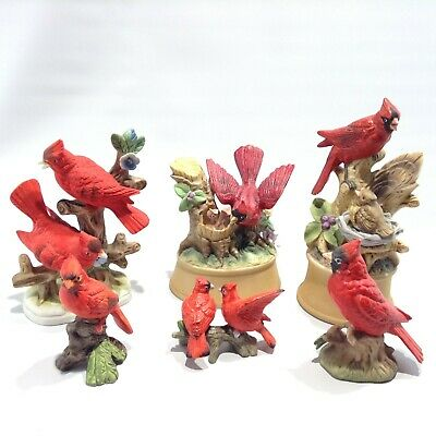 LOT of 6 VINTAGE 1980's CARDINAL Figurines and MUSIC BOX Works SHAFFORD Japan