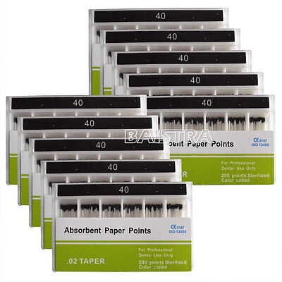 10 Sets Dental Absorbent Paper Points Root Canal Endo PP02 40# Cleaning 200pc/pk