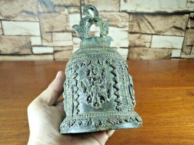 Antique Thai Bell Elephant Buddha Clapper Sound Temple Hanging Decor Collect #9