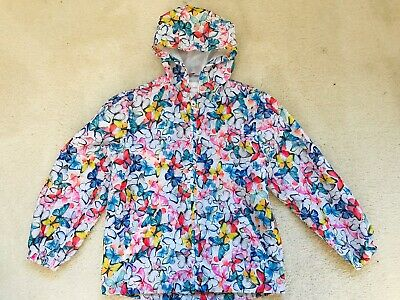 Girls Multi Butterfly Pattern Lightweight Raincoat Age 7-8 Years From TU