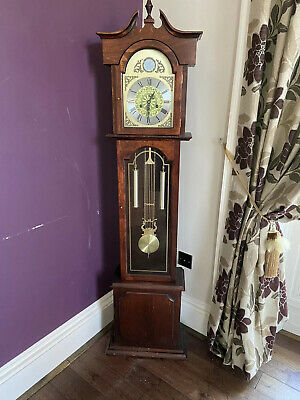 Grandfather Floor Clock Tall Antique Traditional Wooden Longcase
