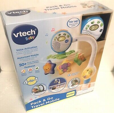 Vtech Baby Pack & Go Travel Mobile Toy 4in1 Rymes Sounds Cot Prams Carriers