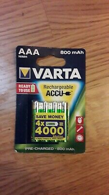 4 Piles AAA VARTA rechargeables accu HR03 800 mAh
