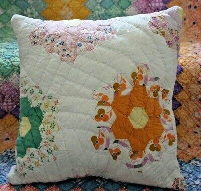 Throw Pillow Vintage Grandmother's Flower Garden Farmhouse Feedsack Quilt #1