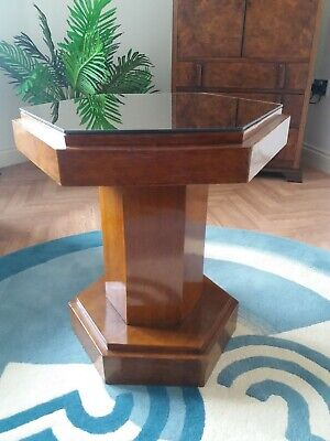 Art deco 1930s oak and glass  cocktail coffee/side table