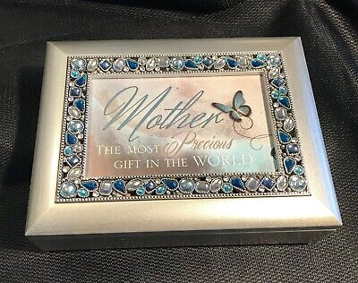 "Music Box - Mother, ""Wind Beneath My Wings"" Jewelled Silver Wood Cottage Garden"