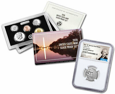 2020 W Jefferson Nickel NGC Reverse PF69 FR + 2020 Silver US Mint Proof Set