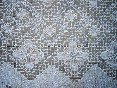 antique filet lace tablecloth USA rectangle 74 x 56 off white