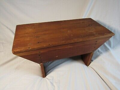 Old Antique Primitive Wooden Step Stool Country Rustic Seat Farmhouse Decor