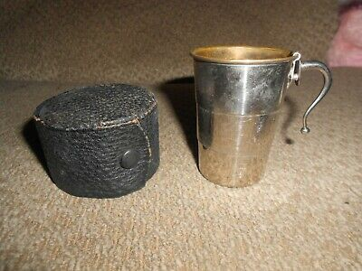Vintage Collapsible Silver Plated Travel Cup/ Leather Case-Germany-Nice!
