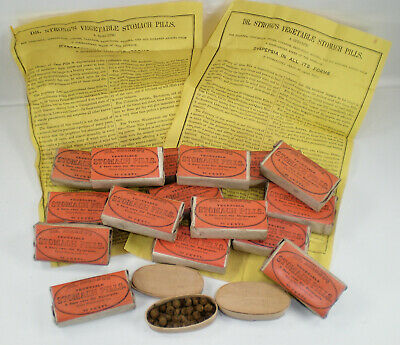 16 Antique ca. 1850's Dr. Strong's Stomach Pills ~ plus 2 Opened ~ Vintage