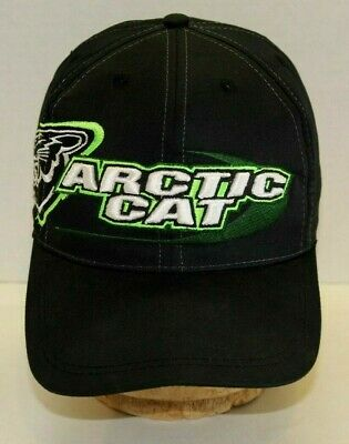 Arctic Cat Hat Black & Green Embroidered Emblem Adjustable Snapback Snowmobile