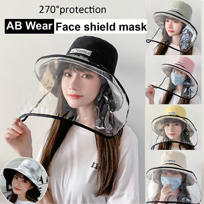 Full Face Covering Shield Anti Droplet Visor Fisherman Cap Hat Protective Mask