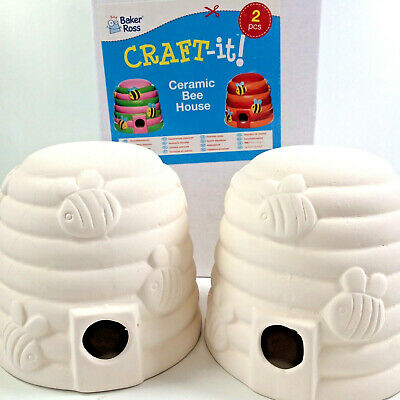Pack Of 2 Ceramic Bee House Blanks To Paint And Decorate Craft For Kids & Adults
