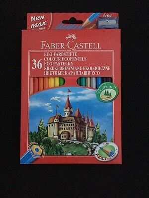 Faber Castell Eco Colour Pencil Pack Set Of 36 Colouring Pencils -Free Sharpener