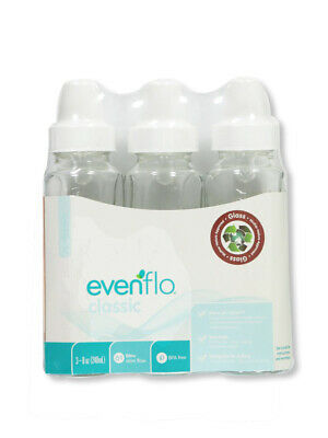 3 Pk Evenflo 4 oz or 8 oz Twist Classic Real Glass Baby Bottles BPA Free 937500