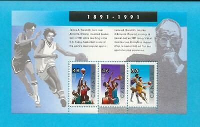 1991 MNH Canada Sc#1344 (Basketball) Souvenir sheet of 3 stamps - ca18