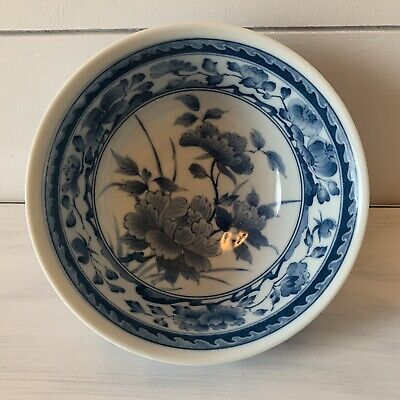 Blue And White Japanese Rice Soup Bowl Made In Japan.