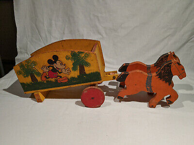 """1930's MICKEY MOUSE WOODEN TWO HORSE DRAWN WAGON, SUPER RARE TOY 21"""" X 8 3/4"""""""