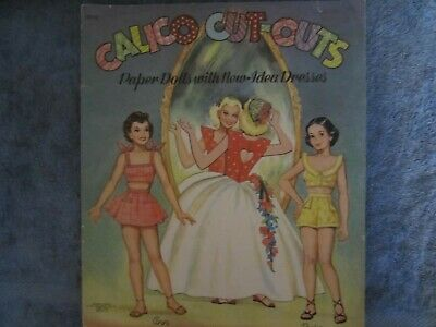 uncut  calico cut-outs paper dolls  with new idea dresses