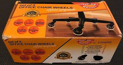 Lifelong Office Chair Casters Replacement Chair Wheels, Rollerblade Style, 5/Set