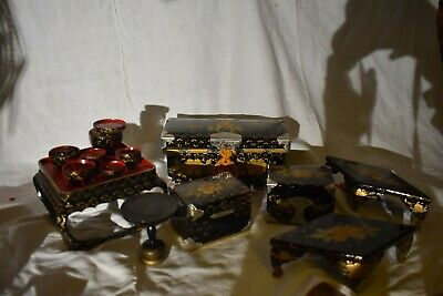 Japanese Hina Doll Lacquer Chests Tables etc. Wood Decoration
