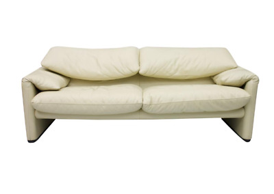 Vico Magistretti Maralunga 2er Sofa Cassina Italien Leder Cream 1973 Leather