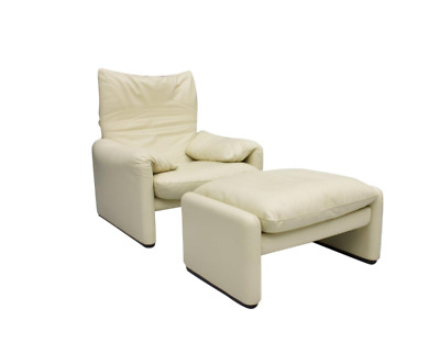 Vico Magistretti Maralunga Lounge Chair & Ottoman Cassina Leder 1973 Sessel
