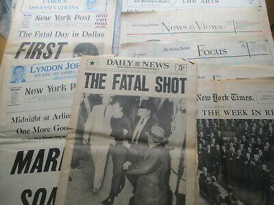 Lot of NINE JFK Assassination Newspapers 1963-1973, NY News, Post, More!