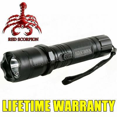 Red Scorpion 1101 Metal Stun Gun 58 BV Police Alloy Rechargeable LED Flashlight