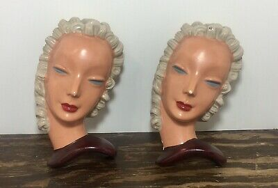 Vintage Art Deco Chalkware Lady Head Wall Hanging Paques