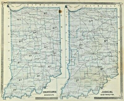 1877 Atlas Map Indiana Congressional Judicial Districts East Hemisphere Antique