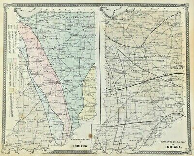 1877 Atlas Indiana Geological Climates Western Hemisphere Antique State Map