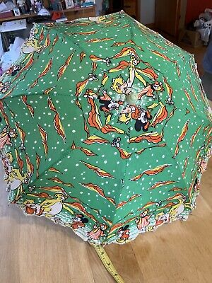 Green Vintage Child's Parasol Mickey Mouse Or Other Mouse-other Characters Print