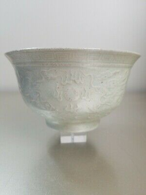 Antique CHINESE LATE QING DYNASTY CELADON DRAGON BOWL