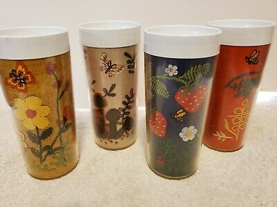 SET of 4 VINTAGE, THERMO-SERV INSULATED TUMBLERS, RETRO, FAUX NEEDLEPOINT