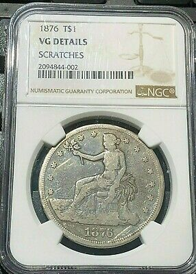 1876 P TRADE SILVER DOLLAR NGC GRADED VG DETAILS very good LOW MINTAGE