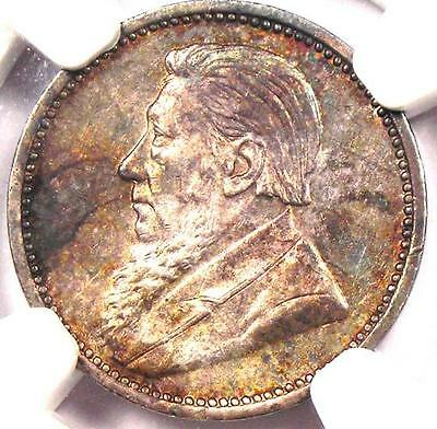 1892 South Africa Zar Threepence (3P) - NGC Uncirculated - Rare BU MS Coin!