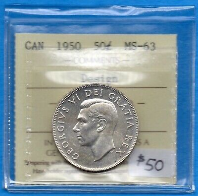 Canada 1950 Design 50 Cents Fifty Cents Silver Coin - ICCS MS-63