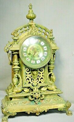 Antique G Philippe Palais Royale French MASSIVE Bronze Clock Sphinx Empire Lion