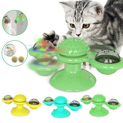 Cat Pet Puzzle Interactive Turntable Windmill Ball Toys Hair Brush Scratcher NEW