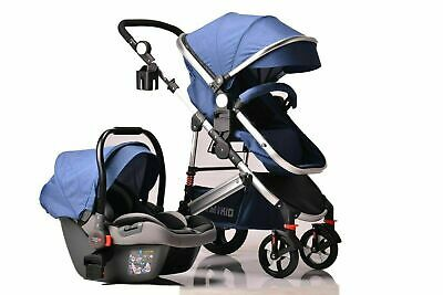 Kids Pram Travel System 3 in 1 Combi Stroller Buggy Baby Child Pushchair - Blue