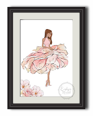 Fashion beauty flower girl wall art print picture  pink A4 PRINT ONLY